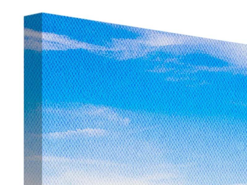 Leinwandbild 3-teilig Sitzbank mit Bergpanorama
