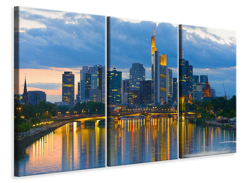 Leinwandbild 3-teilig Skyline Frankfurt am Main
