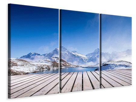 Leinwandbild 3-teilig Sonnenterrasse am Schweizer Bergsee
