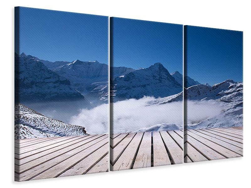 Leinwandbild 3-teilig Sonnenterrasse in den Schweizer Alpen