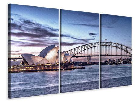 Leinwandbild 3-teilig Skyline Sydney Opera House