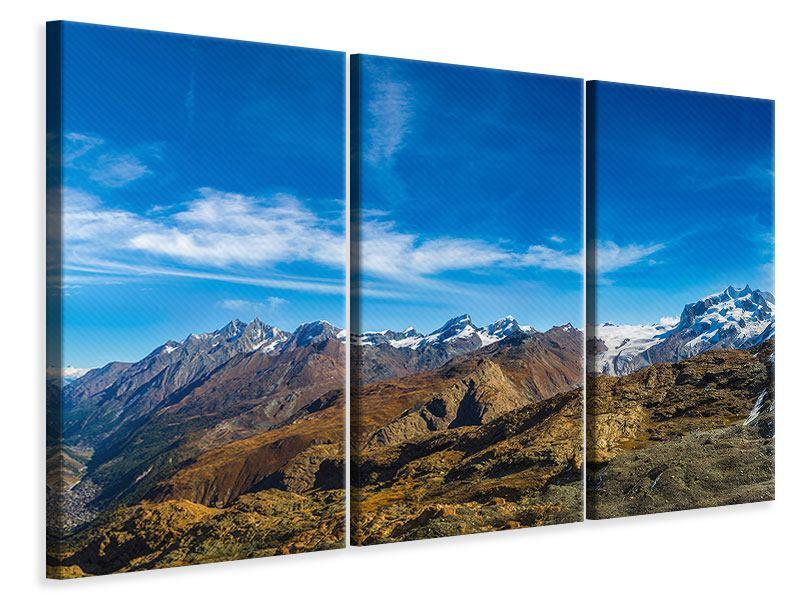 Leinwandbild 3-teilig Schweizer Alpen im Frühling