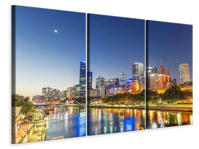 Leinwandbild 3-teilig Skyline Sydney in der Abenddämmerung