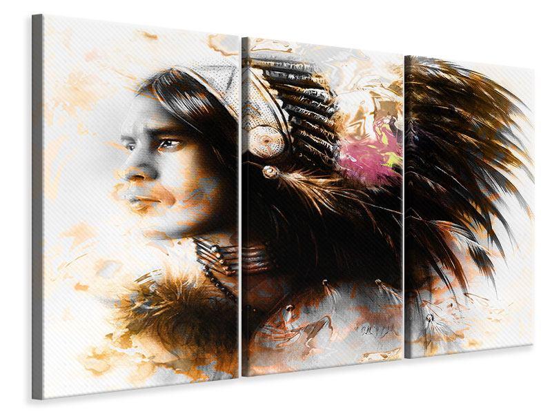 Leinwandbild 3-teilig Kunstvolles Indianer-Portrait