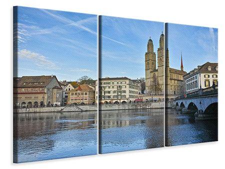 Leinwandbild 3-teilig Die Altstadt von Zürich