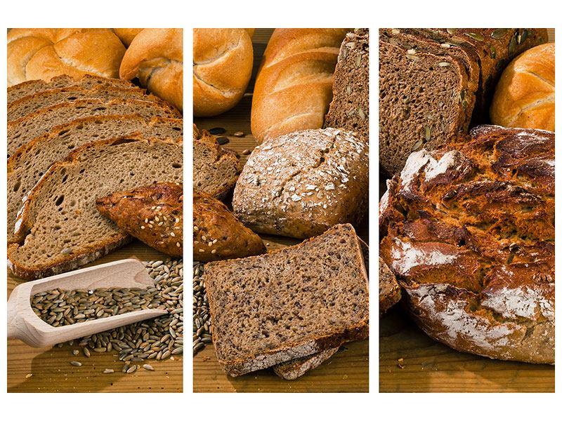 Leinwandbild 3-teilig Brotarten