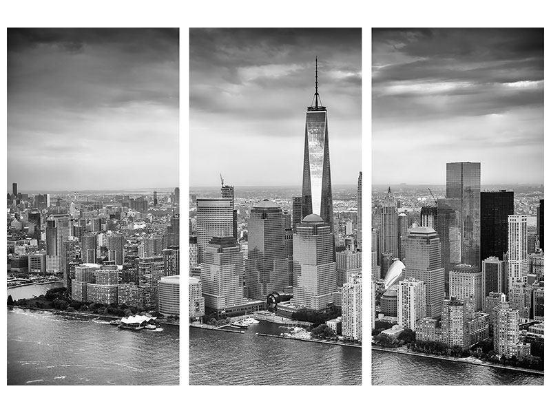 Leinwandbild 3-teilig Skyline Schwarzweissfotografie New York