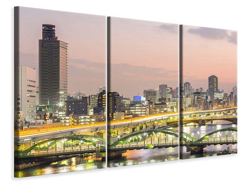 Leinwandbild 3-teilig Skyline Das Lichtermeer von Tokio