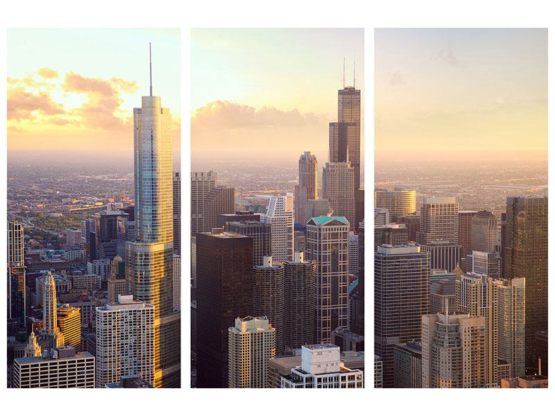 Leinwandbild 3-teilig Skyline Chicago