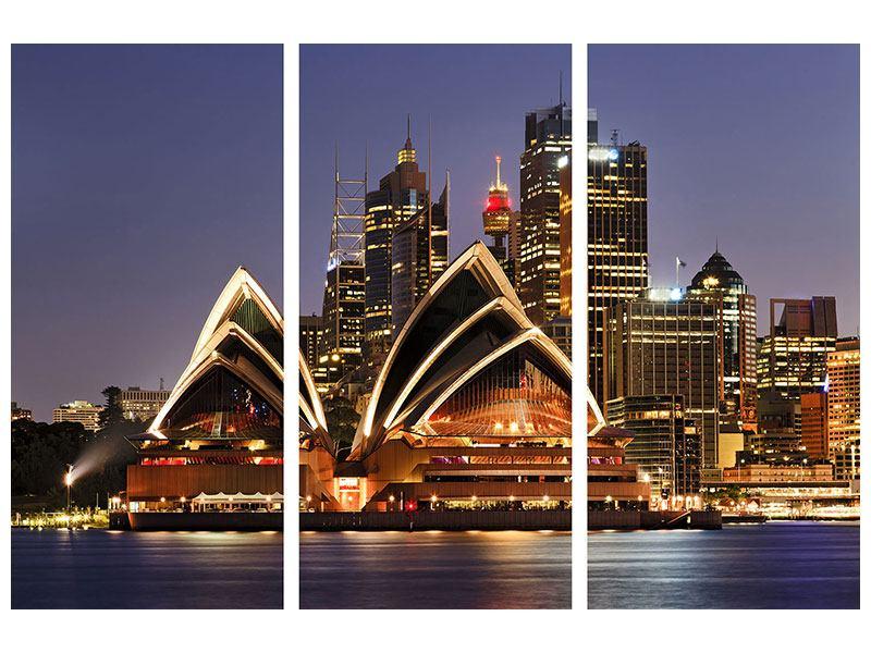 Leinwandbild 3-teilig Skyline Mit dem Boot vor Sydney