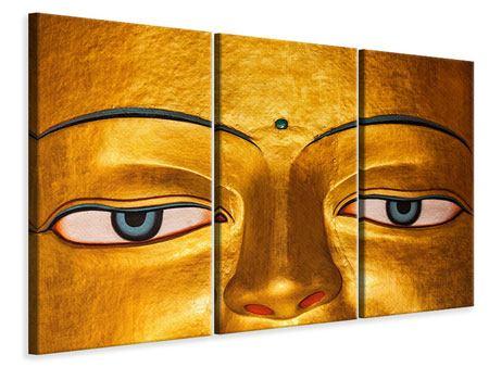 Leinwandbild 3-teilig Die Augen eines Buddhas