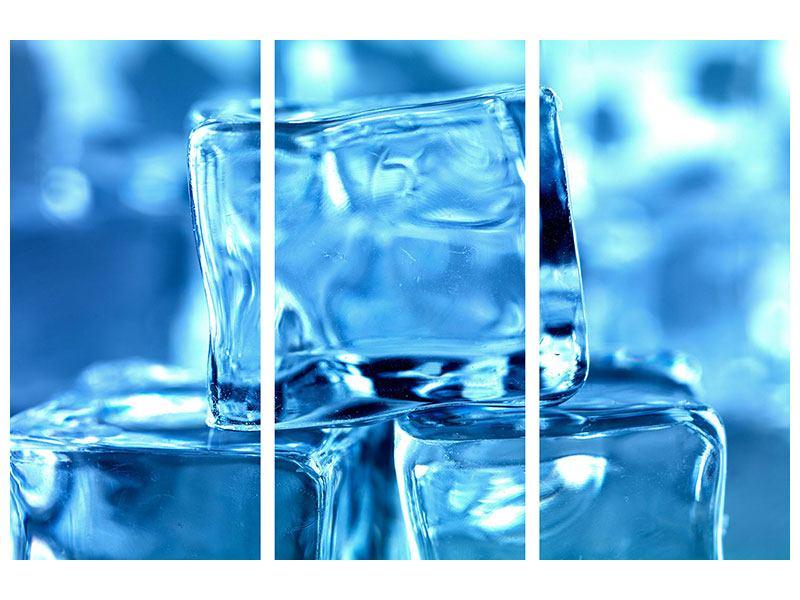 Leinwandbild 3-teilig Eiswürfel XXL