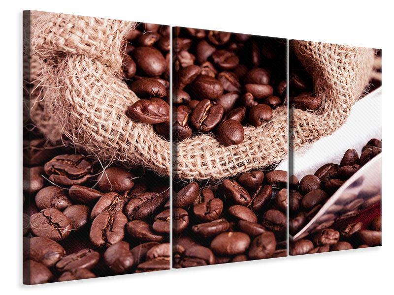 Leinwandbild 3-teilig XXL Kaffeebohnen
