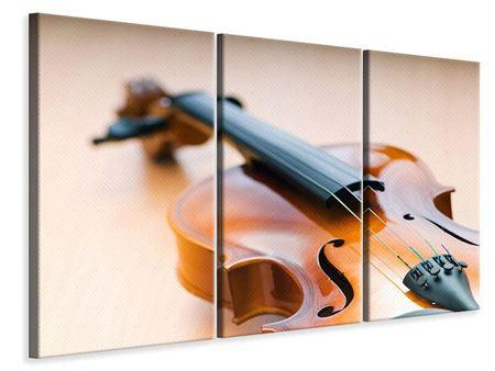 Leinwandbild 3-teilig Geige