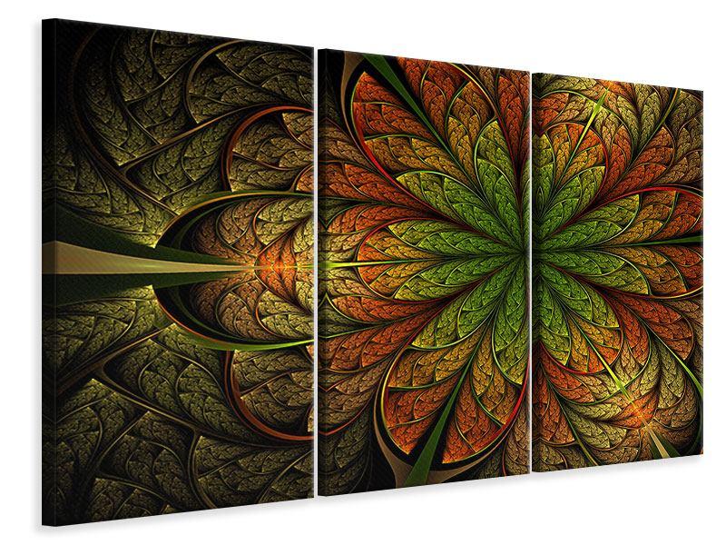Leinwandbild 3-teilig Abstraktes Blumenmuster