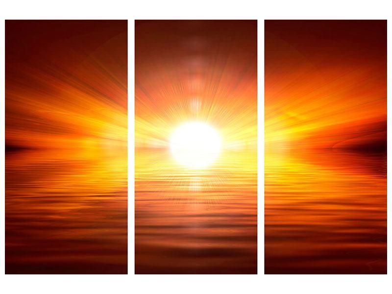 Leinwandbild 3-teilig Glühender Sonnenuntergang