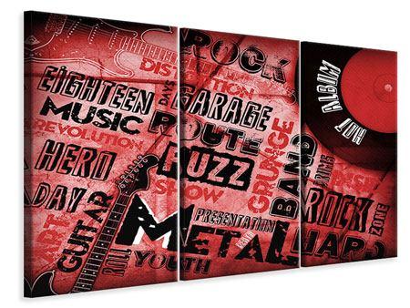 Leinwandbild 3-teilig Writings Music Grunge