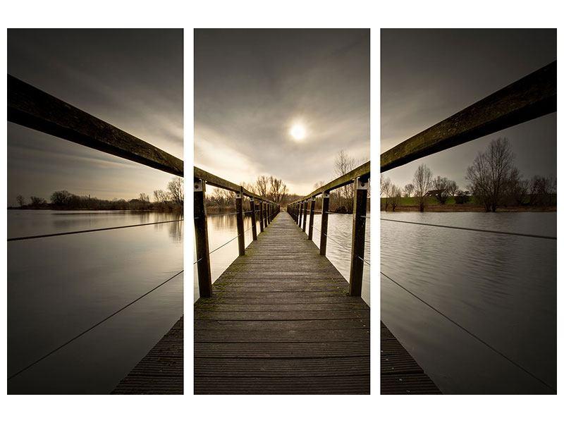 Leinwandbild 3-teilig Die Holzbrücke