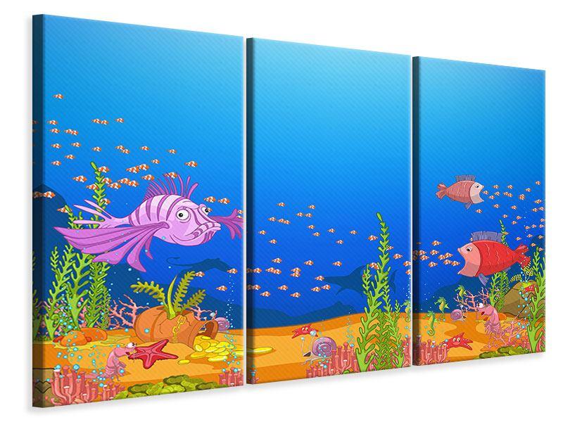 Leinwandbild 3-teilig Der Schatz unter Wasser