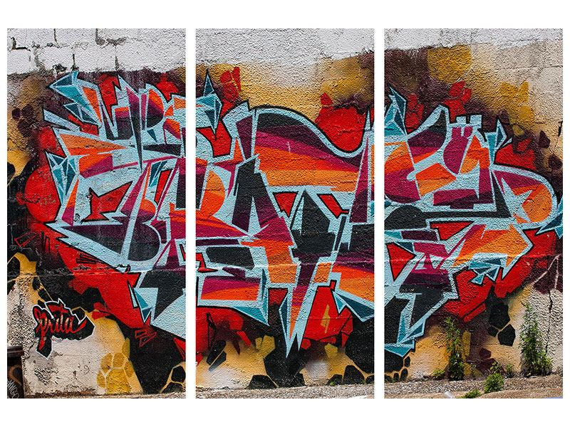 Leinwandbild 3-teilig New York Graffiti