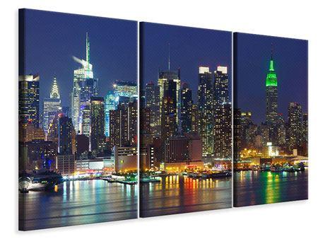 Leinwandbild 3-teilig Skyline New York Midtown bei Nacht