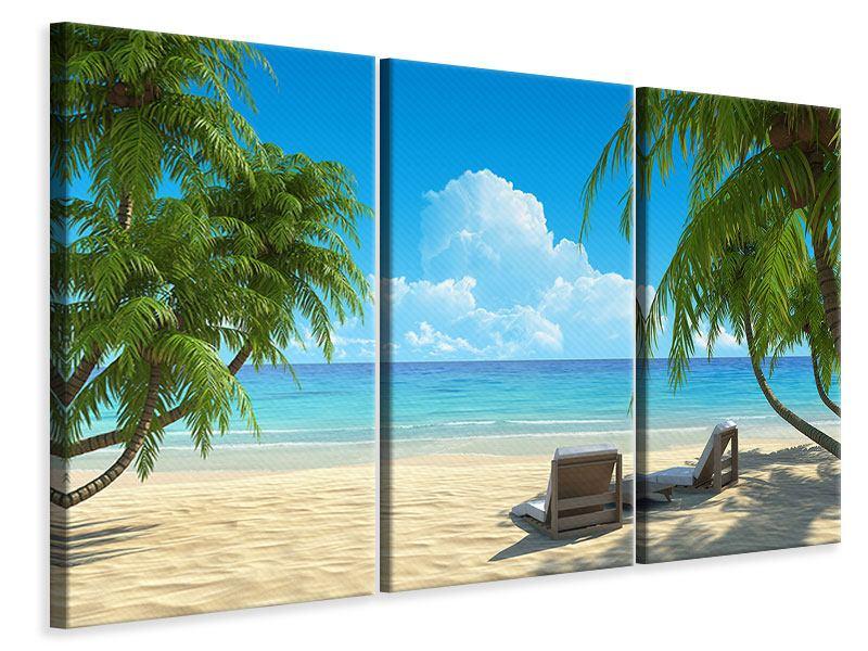 Leinwandbild 3-teilig Strandparadies