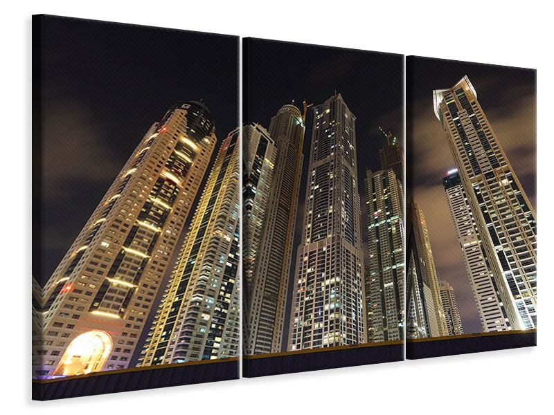 Leinwandbild 3-teilig Wolkenkratzer Dubai Marina