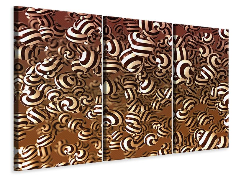 Leinwandbild 3-teilig Schokoladen-Bonbons