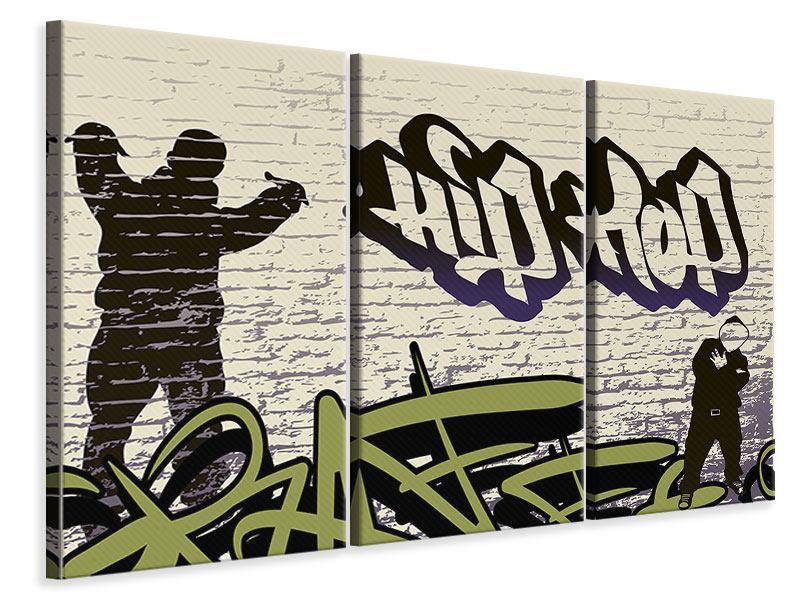 Leinwandbild 3-teilig Graffiti Hip Hop