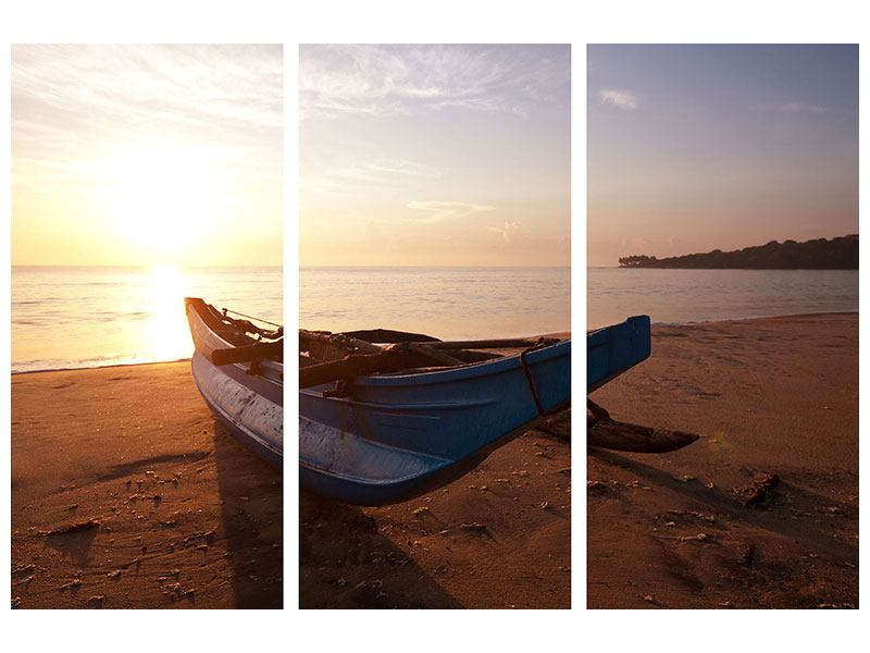 Leinwandbild 3-teilig Das gestrandete Boot