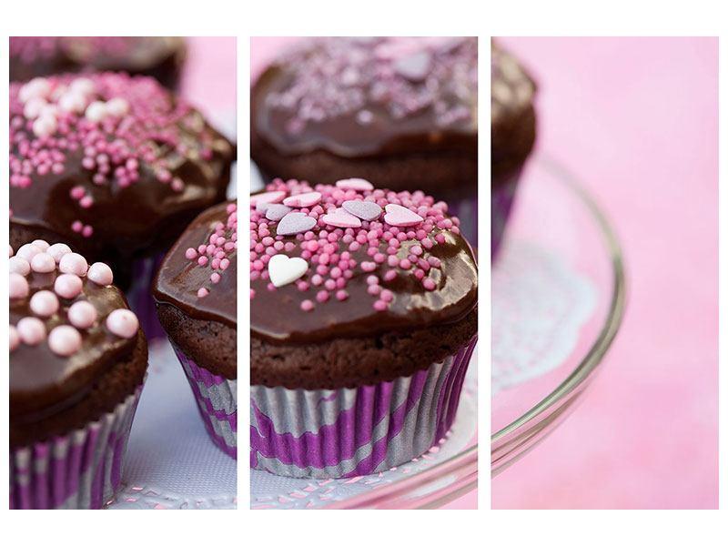 Leinwandbild 3-teilig Muffins