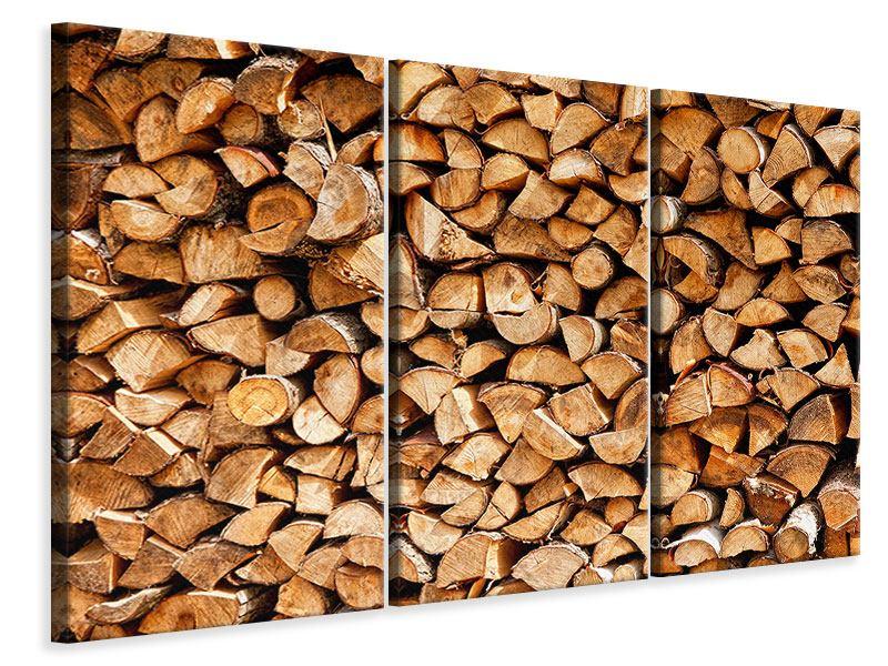 Leinwandbild 3-teilig Gestapeltes Holz
