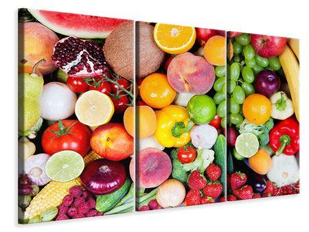Leinwandbild 3-teilig Frisches Obst