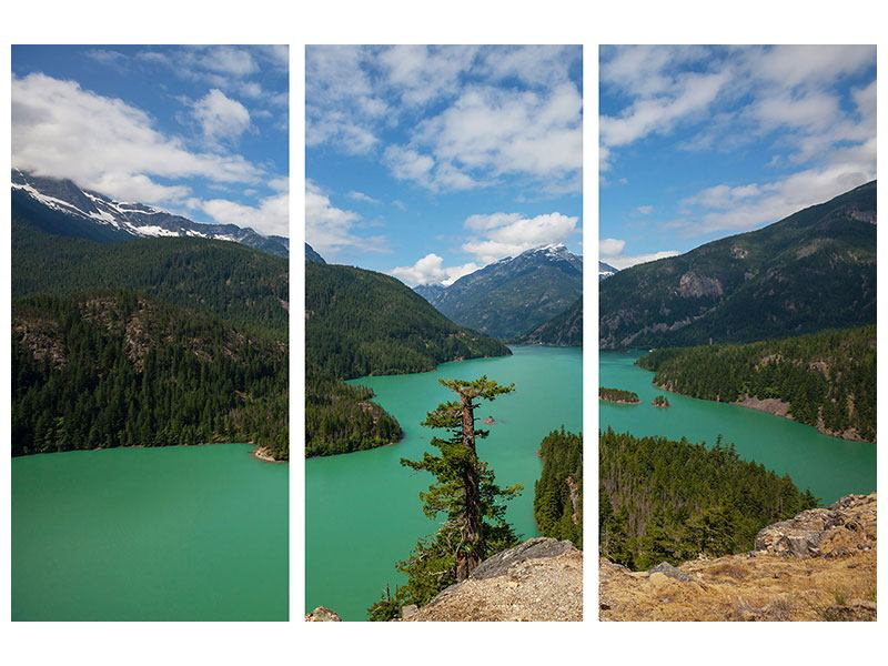 Leinwandbild 3-teilig Diablo Bergsee