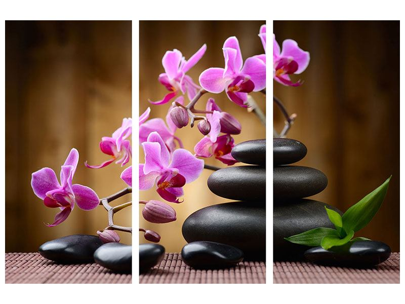 Leinwandbild 3-teilig Wellness-Steine