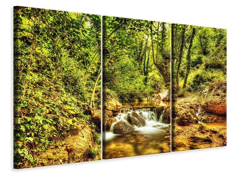 Leinwandbild 3-teilig Wasserfall im Wald