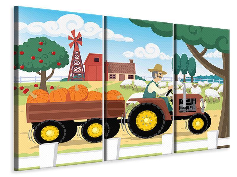 Leinwandbild 3-teilig Bauernhof