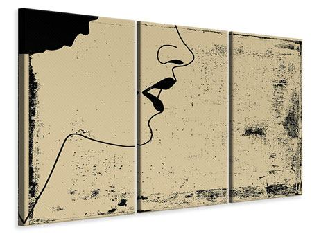Leinwandbild 3-teilig Frauenportrait im Grungestil