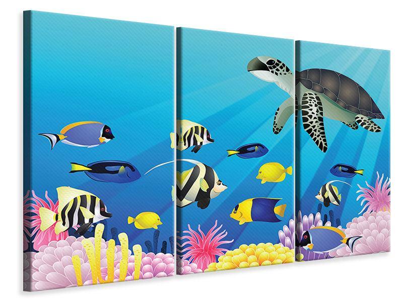 Leinwandbild 3-teilig Kinder Unterwasserwelt