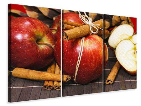 Leinwandbild 3-teilig Äpfel