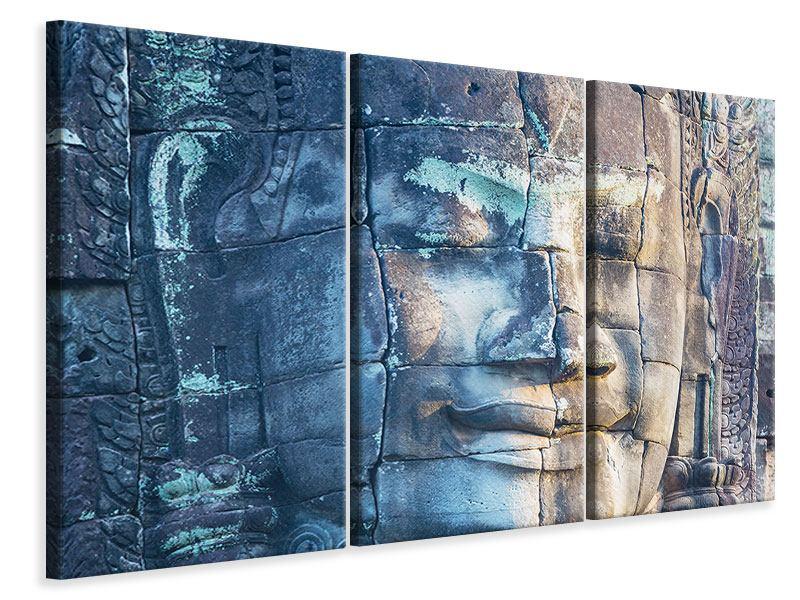 Leinwandbild 3-teilig Buddha Statur