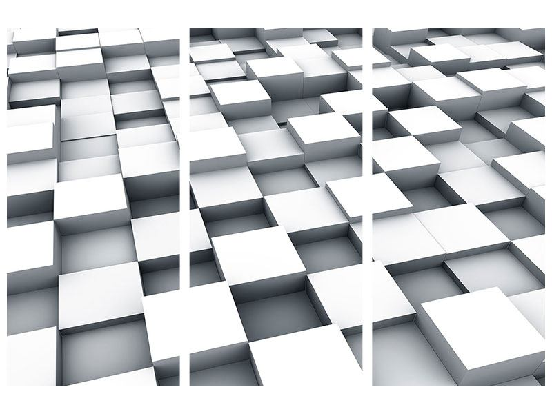 Leinwandbild 3-teilig 3D-Kubus