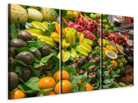 Leinwandbild 3-teilig Früchte