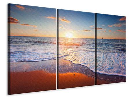 Leinwandbild 3-teilig Sonnenuntergang am Horizont