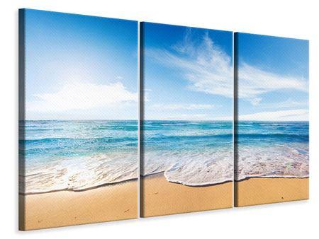 Leinwandbild 3-teilig Spuren im Sand