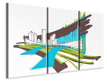 Leinwandbild 3-teilig Graffiti Street-Art