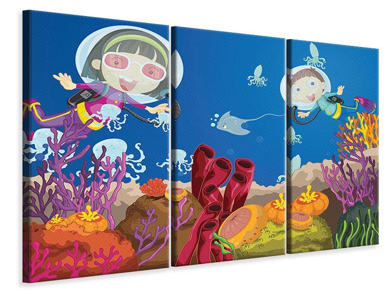 Leinwandbild 3-teilig Fröhliche Fische