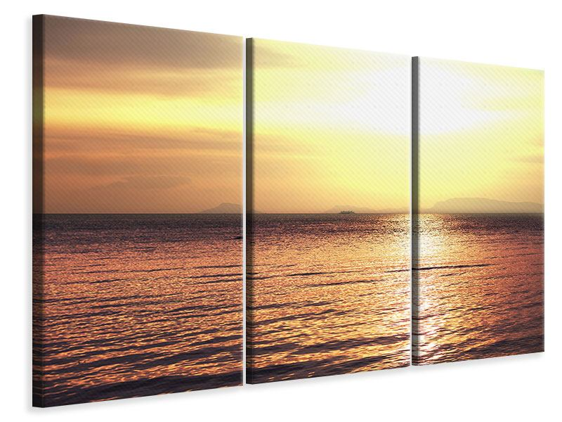 Leinwandbild 3-teilig Sonnenuntergang an der See