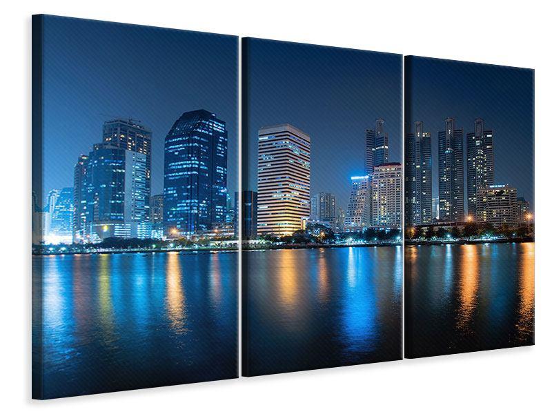 Leinwandbild 3-teilig Skyline Bangkok bei Nacht