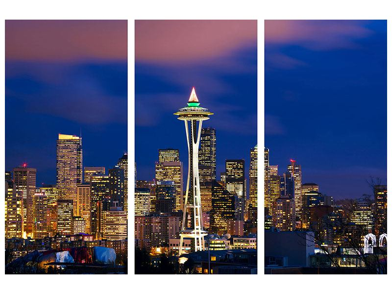 Leinwandbild 3-teilig Skyline Seattle